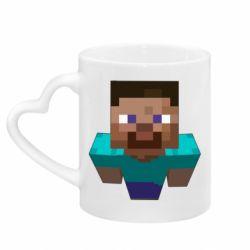 Кружка с ручкой в виде сердца Steve from Minecraft