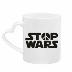 Кружка с ручкой в виде сердца Stop Wars peace