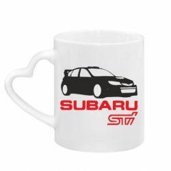 Кружка с ручкой в виде сердца Subaru STI