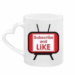 Кружка з ручкою у вигляді серця Subscribe and like youtube