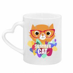 Кружка с ручкой в виде сердца Summer cat