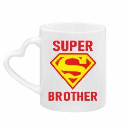 Кружка с ручкой в виде сердца Super Brother
