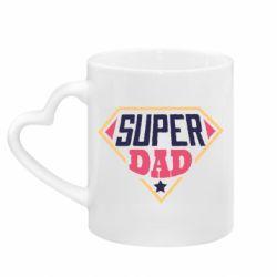 Кружка с ручкой в виде сердца Super dad text