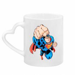 Кружка з ручкою у вигляді серця Супермен Комікс