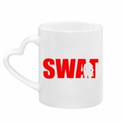 Кружка с ручкой в виде сердца SWAT