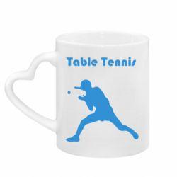 Кружка з ручкою у вигляді серця Table Tennis Logo