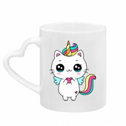 Кружка з ручкою у вигляді серця The cat is unicorn
