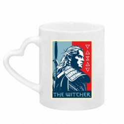 Кружка с ручкой в виде сердца The witcher poster