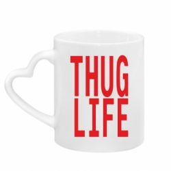 Кружка с ручкой в виде сердца thug life