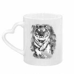Кружка с ручкой в виде сердца Tiger watercolor