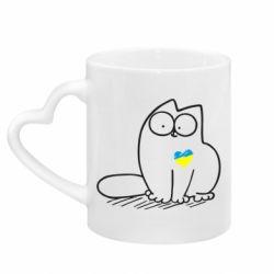 Кружка с ручкой в виде сердца Типовий український кіт