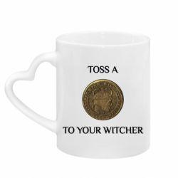 Кружка з ручкою у вигляді серця Toss a coin to your witcher ( орен )