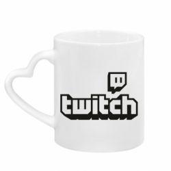 Кружка з ручкою у вигляді серця Twitch logotip