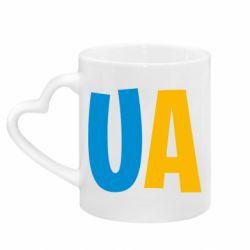 Кружка с ручкой в виде сердца UA Blue and yellow