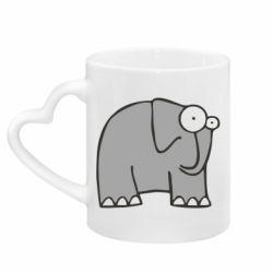 Кружка с ручкой в виде сердца удивленный слон