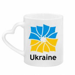 Кружка с ручкой в виде сердца Ukraine квадратний прапор