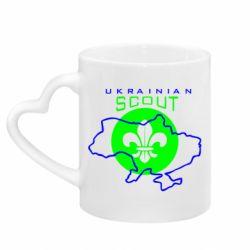 Кружка з ручкою у вигляді серця Ukrainian Scout Map