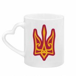 Кружка з ручкою у вигляді серця Ukrainian trident with contour