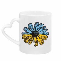 Кружка с ручкой в виде сердца Українська квітка