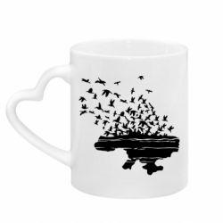 Кружка с ручкой в виде сердца Українські птахи