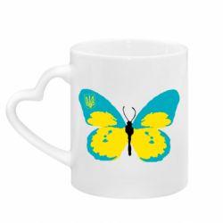 Кружка з ручкою у вигляді серця Український метелик