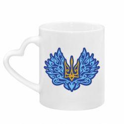 Кружка з ручкою у вигляді серця Український тризуб арт