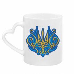 Кружка з ручкою у вигляді серця Український тризуб монограма