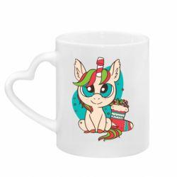 Кружка с ручкой в виде сердца Unicorn Christmas