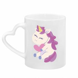 Кружка с ручкой в виде сердца Unicorn with love