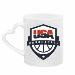 Кружка с ручкой в виде сердца USA basketball