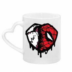 Кружка з ручкою у вигляді серця Venom and spiderman