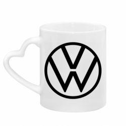 Кружка с ручкой в виде сердца Volkswagen new logo