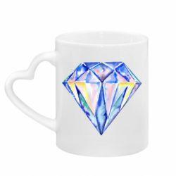 Кружка с ручкой в виде сердца Watercolor diamond