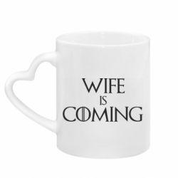 Кружка з ручкою у вигляді серця Wife is coming