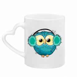 Кружка с ручкой в виде сердца Winter owl