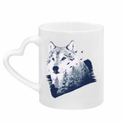 Кружка с ручкой в виде сердца Wolf and forest
