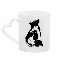 Кружка с ручкой в виде сердца Wolf And Fox
