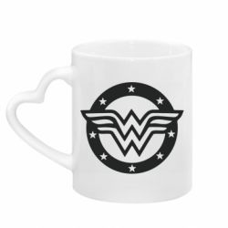 Кружка с ручкой в виде сердца Wonder woman logo and stars