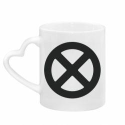Кружка з ручкою у вигляді серця X-man logo