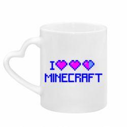Кружка с ручкой в виде сердца Я люблю Minecraft