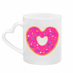 Кружка с ручкой в виде сердца Я люблю пончик