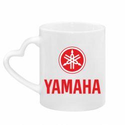 Кружка с ручкой в виде сердца Yamaha Logo(R+W)