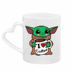 Кружка с ручкой в виде сердца Yoda and a mug with the inscription I love coffee