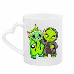 Кружка с ручкой в виде сердца Yoda and Grinch