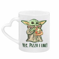 Кружка с ручкой в виде сердца Yoda and pizza