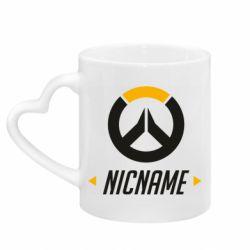 Кружка с ручкой в виде сердца Your Nickname Overwatch