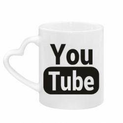 Кружка з ручкою у вигляді серця Youtube vertical logo