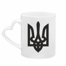 Кружка с ручкой в виде сердца Жирный Герб Украины