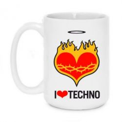Кружка 420ml I love Techno logo - FatLine