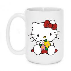 Кружка 420ml Kitty с букетиком - FatLine